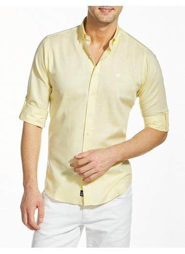 Bisse GM19Y91136 Regular Fit Dokulu Spor Gömlek Sarı